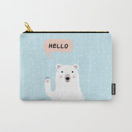Cute Polar Bear in the Snow says Hello Carry-All Pouch