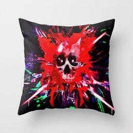 Splatter Skull (red) Throw Pillow