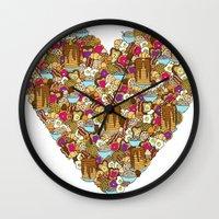 breakfast Wall Clocks featuring Breakfast by Julia Emiliani