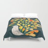 peacock Duvet Covers featuring Watercolor Peacock by Picomodi