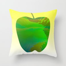 Fresh Green Solo Apple Throw Pillow