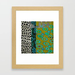 Teal & Olive Abstract Art Collage Framed Art Print