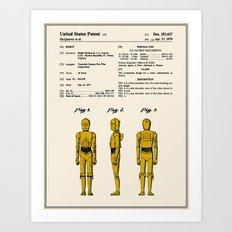 C3P0 Patent - Colour Art Print