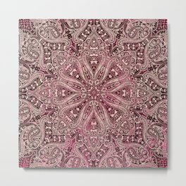 paisley mandala in light pink wash Metal Print