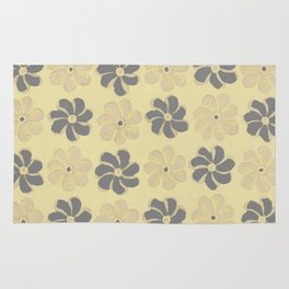 Floral design Yellow & Gray Flowers print Rug