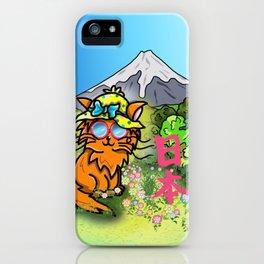 Cute cat in a sunhat at Mount Fuji iPhone Case