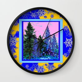 YELLOW-BLUE WINTER SNOWFLAKES  FOREST TREE  ART Wall Clock