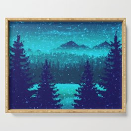 Pine forest in blue Serving Tray