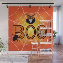 Boo, says the owl. It's Halloween! Wall Mural