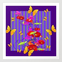 GOLDEN BUTTERFLIES &  RED FLOWER GARDEN Art Print
