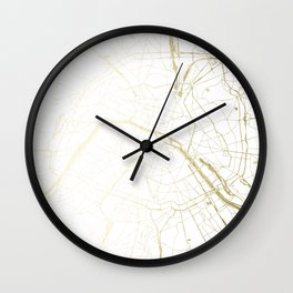 Paris Gold and White Street Map II Wall Clock