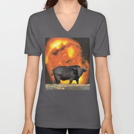 buffalo sun | 1970s SciFi Paper Collage Analog | Bison | Solar Outer Space Psychedelic Funny Unisex V-Neck