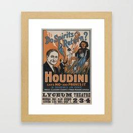 Houdini - vintage poster, spirits Framed Art Print