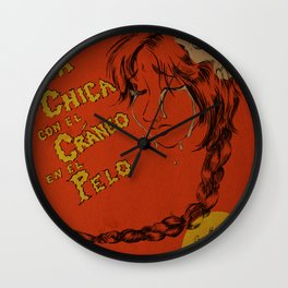La Chica con el Craneo en el Pelo: The Girl With a Skull In Her Hair Wall Clock