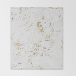 White and gold faux marble Throw Blanket