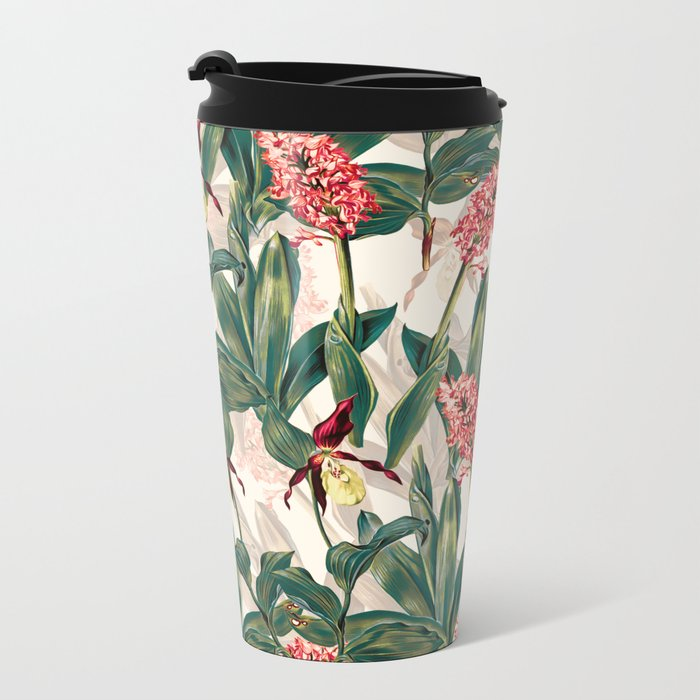 Tropical Leaf Pattern Metal Travel Mug