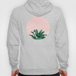 Turquoise Banana and palm Leaves Hoody