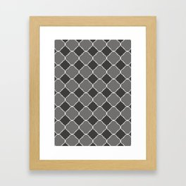 Pantone Pewter Ornamental Moroccan Tile Pattern with White Border Framed Art Print