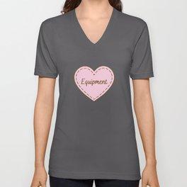 I Love Equipment Simple Heart Design Unisex V-Neck