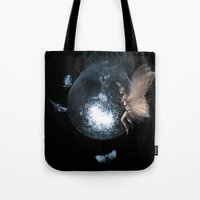 moth Tote Bags featuring Moth by Ink Bird Art
