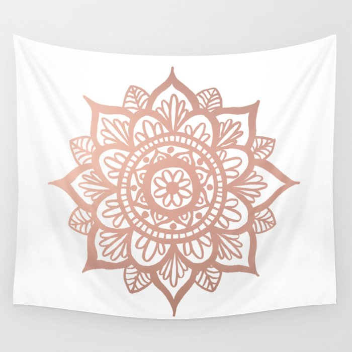 New Rose Gold Mandala Wall Tapestry