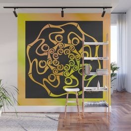 Hope Flower Mandala - Gold Black Dynamic Wall Mural