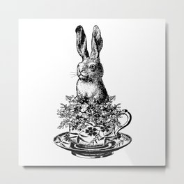 Rabbit in a Teacup | Black and White Metal Print