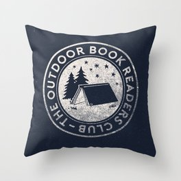 Outdoor Book Readers Club badge Throw Pillow