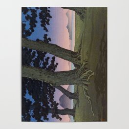Kawase Hasui Vintage Japanese Woodblock Print Pink Purple Hues Ombre Sunset Through Pine Trees Lands Poster