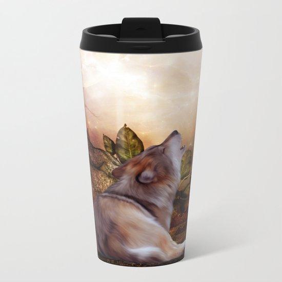 Awesome wolf Metal Travel Mug