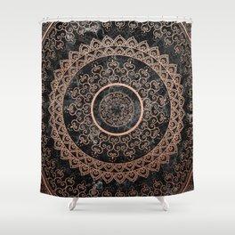 Mandala - rose gold and black marble Shower Curtain
