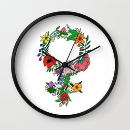 Feminist flower in color Wall Clock