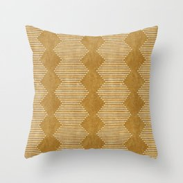 mudcloth diamonds - mustard Throw Pillow