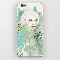 fashion illustration iPhone & iPod Skins featuring FASHION ILLUSTRATION 10 by Justyna Kucharska