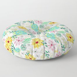 Pastel Pink, Aqua And Yellow Spring Floral Pattern Floor Pillow