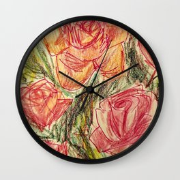 Pink and Yellow Roses Wall Clock