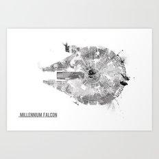 Star Wars Vehicle Millennium Falcon Art Print