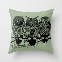 feathers Throw Pillows featuring Owls of the Nile by Rachel Caldwell