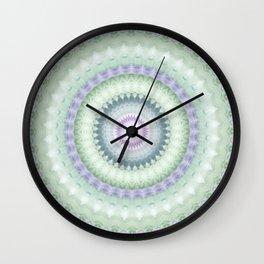 Heirloom Mandala in Pastel Green and Purple Wall Clock