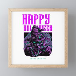 Happy Halloween Anime Masked Character Framed Mini Art Print