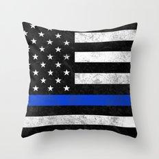 Thin Blue Line Flag 2 Throw Pillow