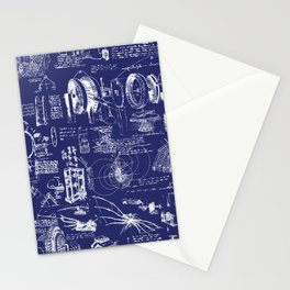 Da Vinci's Sketchbook // Dark Blue Stationery Cards