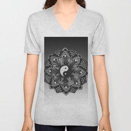 Yin and Yang Mandala (Black & White) Unisex V-Neck