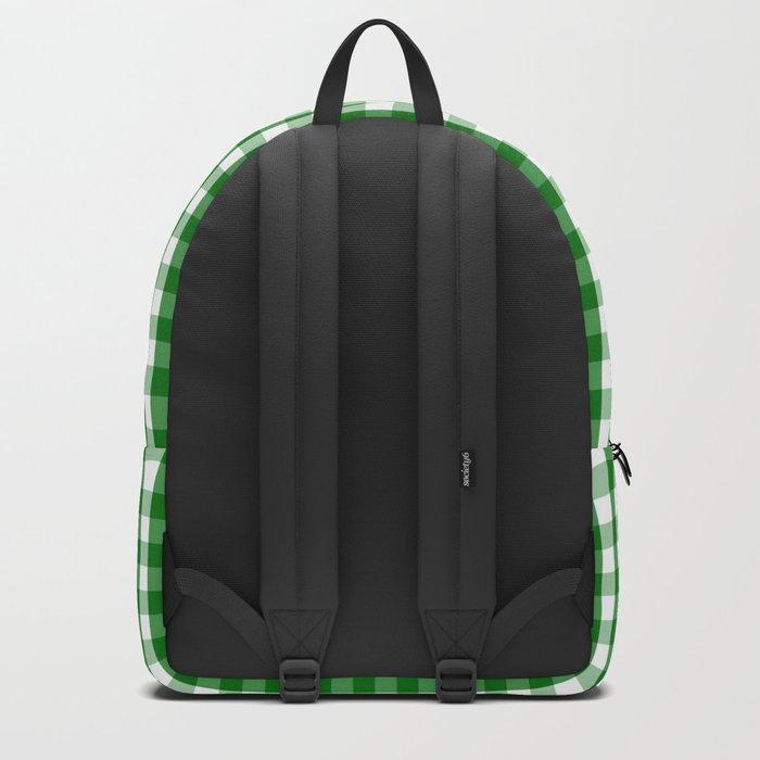 Christmas Green Gingham Check Backpack