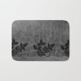 Pure elegance- Black floral luxury lace on dark grunge backround Bath Mat