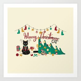 Happy Merry Christmas Cat Art Print