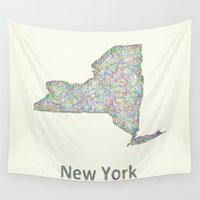 new york map Wall Tapestries featuring New York map by David Zydd