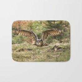 Eagle Owl In Flight Bath Mat