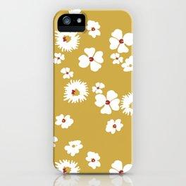 Modern liberty print on mustard ground iPhone Case