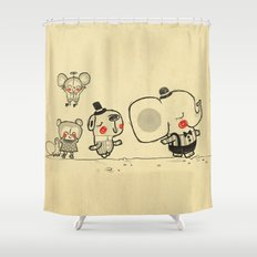 Forest Friends \ Cute Animals March\ elephant cats dogs  Shower Curtain